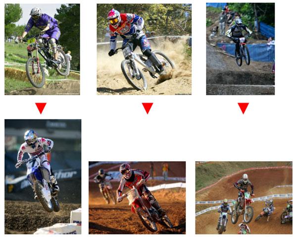 A bicicleta tem várias semelhanças com a prática do motocross, exemplos  disso são as posições corporais envolvidas, conforme a imagem abaixo. e49cfa5e4c
