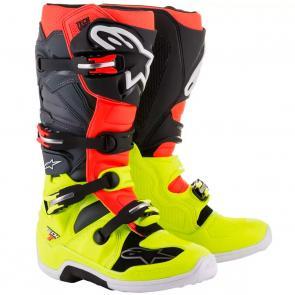 Bota Alpinestars Tech 7 - Amarelo/Vermelho/Cinza