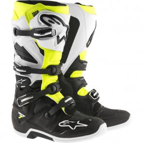 Bota Alpinestars Tech 7 - Preto/Branco/Amarelo