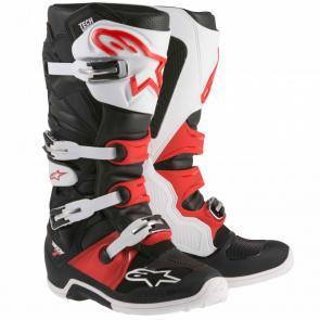 Bota Alpinestars Tech 7 - Preto/Branco/Vermelho