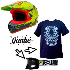 Capacete ASW Hyperspace - Brinde Camiseta Mx Parts Skull Rider + Óculos ASW A3 Stardust Hard Enduro