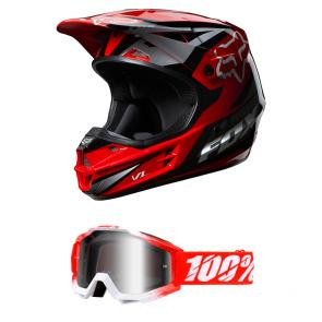 Kit Motocross Capacete Fox V1 Race + Óculos 100% Accuri