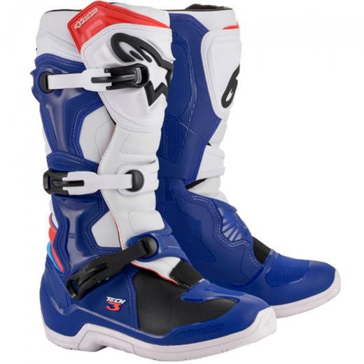 Bota Alpinestars Tech 3 - Branco/Vermelho/Azul