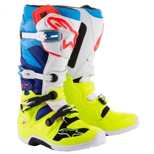 Bota Alpinestars Tech 7 - Azul/Branco/Amarelo