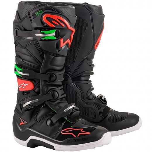 Bota Alpinestars Tech 7 - Preto/Verde/Vermelho