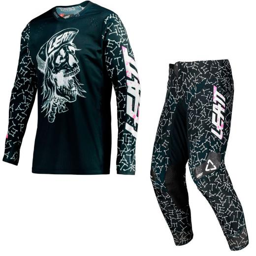 Kit Cal�a + Camisa Leatt Moto 4.5 Skull/Bones 2021