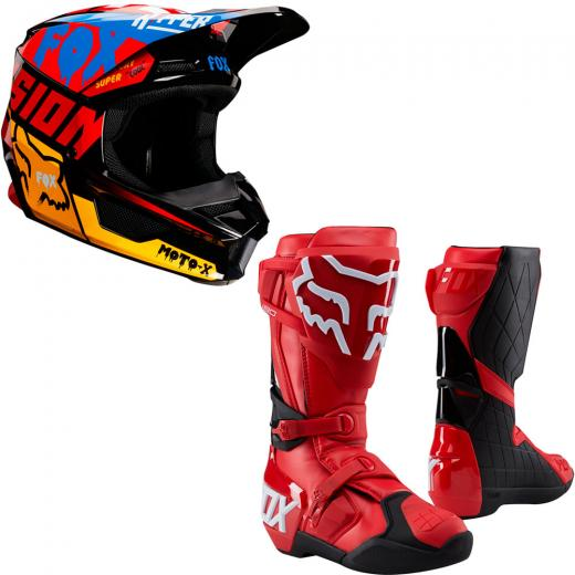 Kit Capacete Fox CZAR + Bota Fox 180
